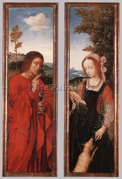 QUENTIN MASSYS JOHN THE BAPTIST AND ST AGNES ARTIST PAINTING HANDMADE OIL CANVAS