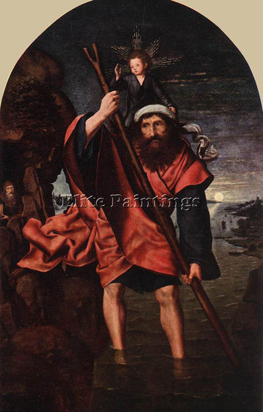 QUENTIN MASSYS ST CHRISTOPHER ARTIST PAINTING REPRODUCTION HANDMADE CANVAS REPRO