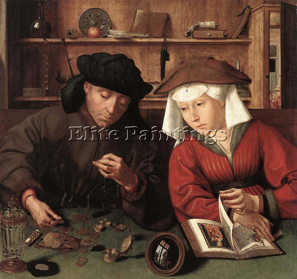 QUENTIN MASSYS THE MONEYLENDER AND HIS WIFE ARTIST PAINTING HANDMADE OIL CANVAS