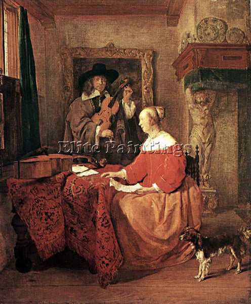 GABRIEL METSU A WOMAN SEATED AT A TABLE AND A MAN TUNING A VIOLIN ARTIST CANVAS