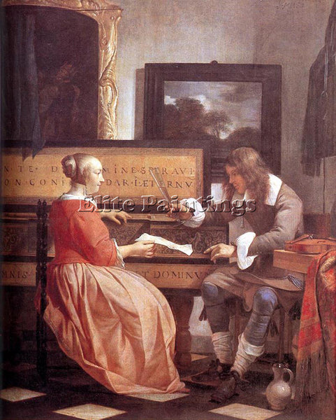 GABRIEL METSU MAN AND WOMAN SITTING AT THE VIRGINAL 1 ARTIST PAINTING HANDMADE