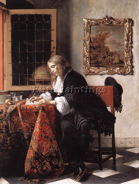 GABRIEL METSU MAN WRITING A LETTER 1 ARTIST PAINTING REPRODUCTION HANDMADE OIL