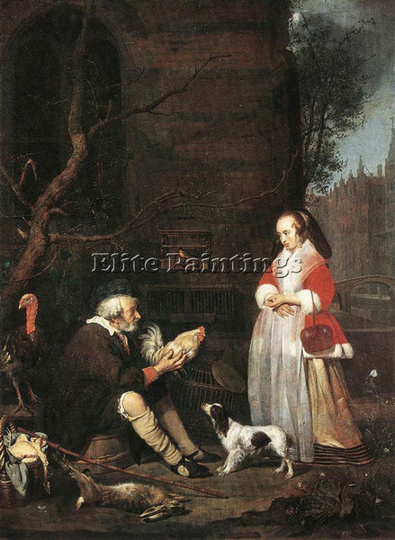 GABRIEL METSU POULTRY SELLER ARTIST PAINTING REPRODUCTION HANDMADE CANVAS REPRO