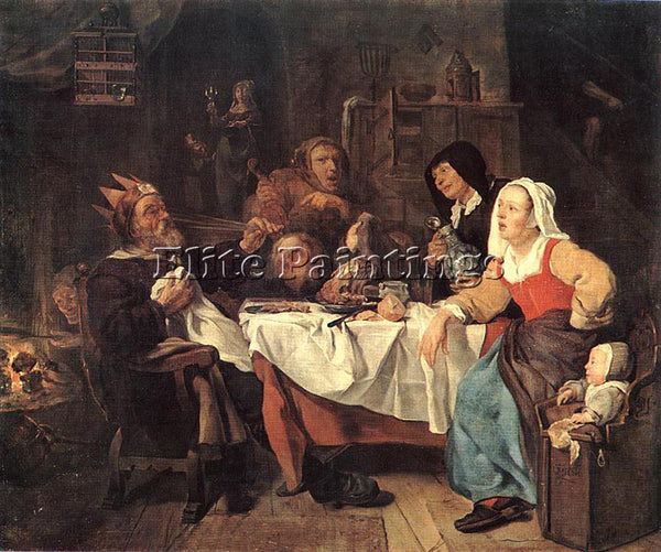 GABRIEL METSU THE FEAST OF THE BEAN KING ARTIST PAINTING REPRODUCTION HANDMADE