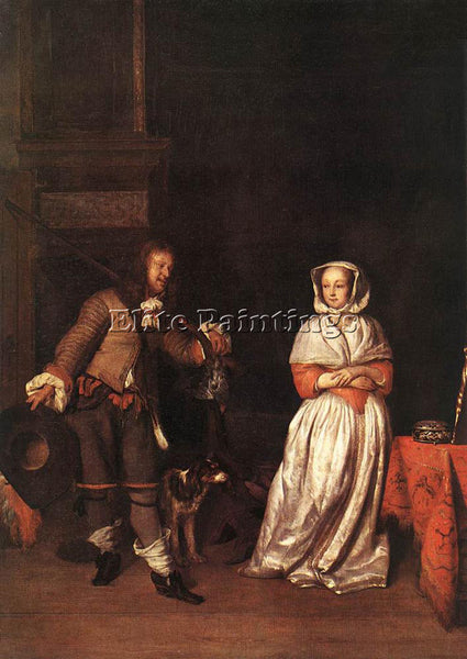 GABRIEL METSU HUNTER AND A WOMAN ARTIST PAINTING REPRODUCTION HANDMADE OIL REPRO
