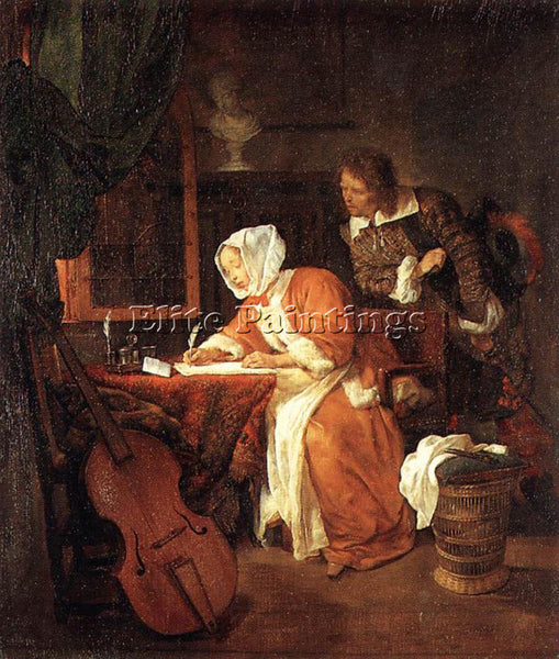 GABRIEL METSU LETTER WRITER SURPRISED ARTIST PAINTING REPRODUCTION HANDMADE OIL