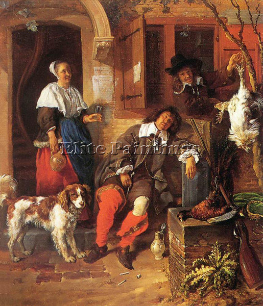 GABRIEL METSU SLEEPING SPORTSMAN ARTIST PAINTING REPRODUCTION HANDMADE OIL REPRO
