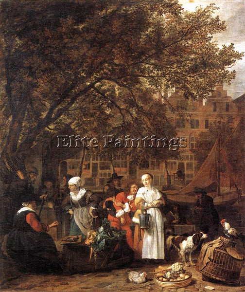 GABRIEL METSU VEGETABLE MARKET IN AMSTERDAM 1 ARTIST PAINTING REPRODUCTION OIL