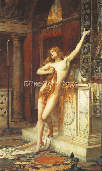BRITISH MITCHELL CHARLES WILLIAM HYPATIA 1885 ARTIST PAINTING REPRODUCTION OIL