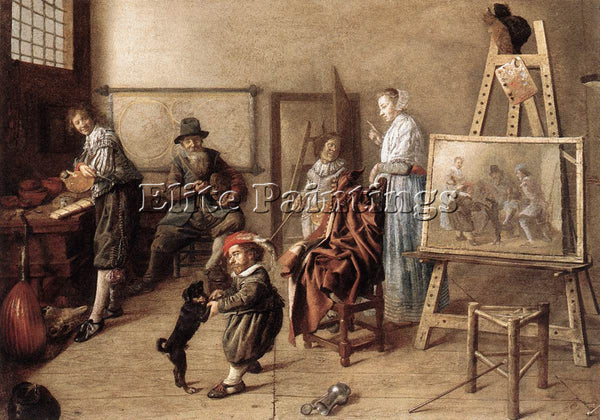 JAN MIENSE MOLENAER PAINTER IN HIS STUDIO PAINTING A MUSICAL COMPANY OIL CANVAS