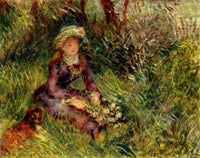 RENOIR MADAME RENOIR WITH DOG ARTIST PAINTING REPRODUCTION HANDMADE CANVAS REPRO