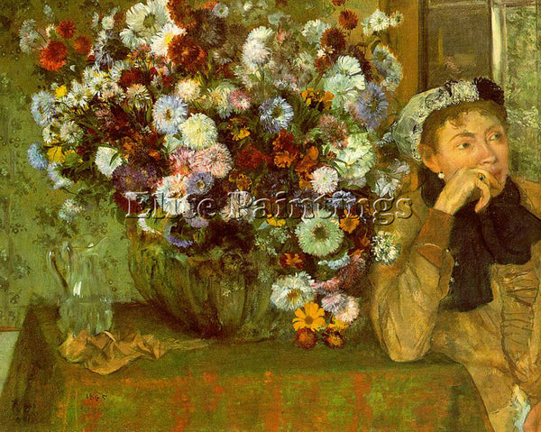 EDGAR DEGAS MADAME VALPINCON WITH CHRYSANTHEMUMS ARTIST PAINTING HANDMADE CANVAS