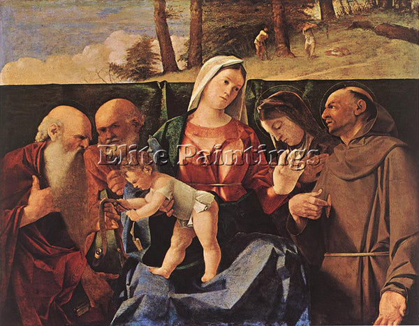 LORENZO LOTTO MADONNA AND CHILD WITH SAINTS ARTIST PAINTING HANDMADE OIL CANVAS