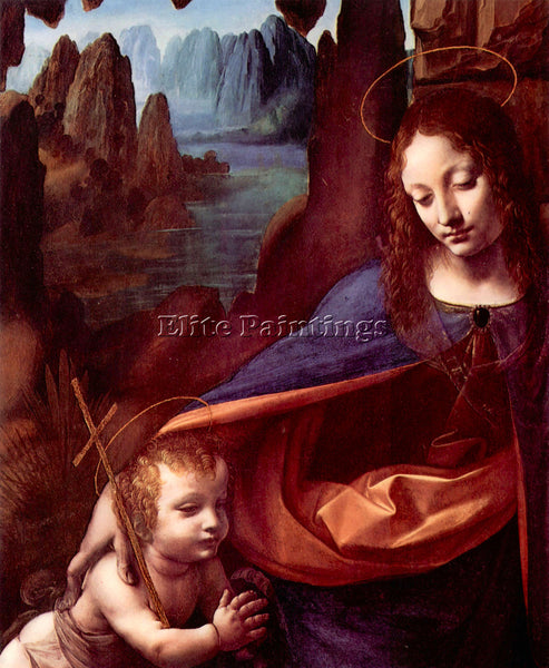 LEONARDO DA VINCI MADONNA IN THE ROCK CAVE DETAIL ARTIST PAINTING REPRODUCTION