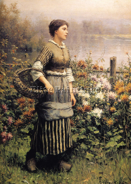 DANIEL RIDGWAY KNIGHT MAID AMONG THE FLOWERS ARTIST PAINTING HANDMADE OIL CANVAS
