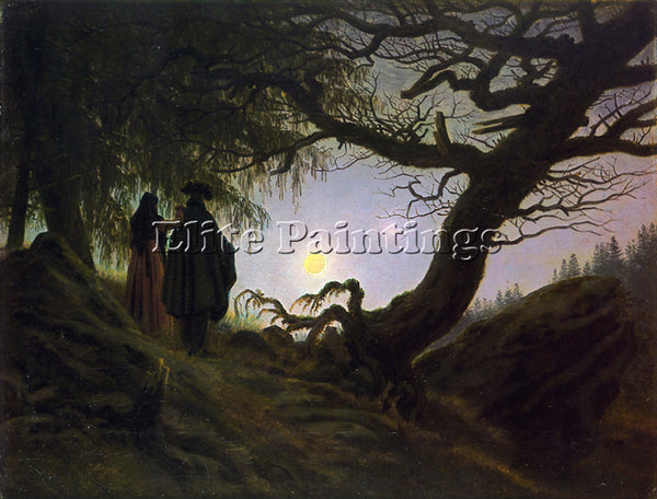 CASPAR DAVID FRIEDRICH MAN AND WOMAN CONTEMPLATING THE MOON CDF ARTIST PAINTING