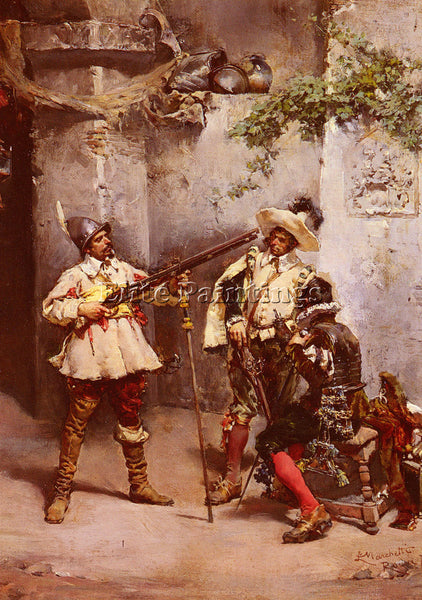LUDOVICO MARCHETTI THE MUSKETEERS ARTIST PAINTING REPRODUCTION HANDMADE OIL DECO