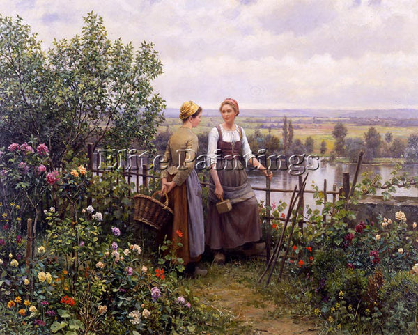 DANIEL RIDGWAY KNIGHT MARIA AND MADELEINE ON THE TERRACE ARTIST PAINTING CANVAS