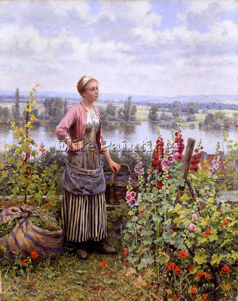 DANIEL RIDGWAY KNIGHT MARIA ON THE TERRACE WITH A BUNDLE OF GRASS ARTIST CANVAS