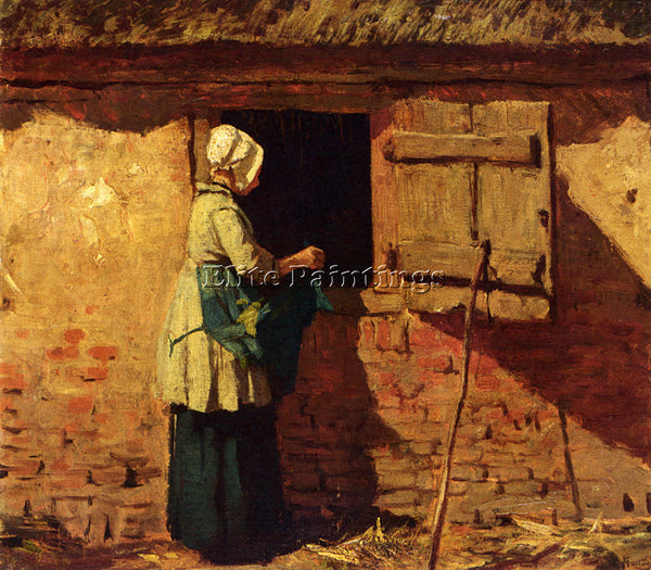 ANTON MAUVE A PEASANT WOMAN BY A BARN ARTIST PAINTING REPRODUCTION HANDMADE OIL