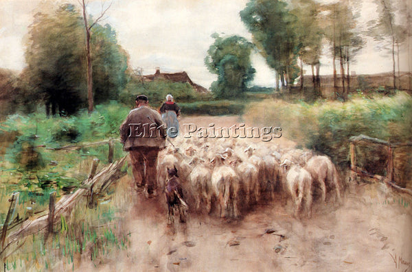 ANTON MAUVE BRINGING HOME THE FLOCK ARTIST PAINTING REPRODUCTION HANDMADE OIL