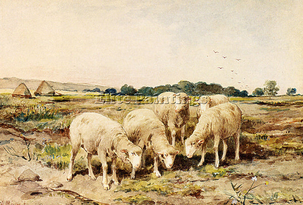 ANTON MAUVE GRAZING SHEEP ARTIST PAINTING REPRODUCTION HANDMADE OIL CANVAS REPRO