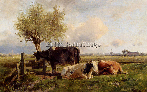 ANTON MAUVE RESTING COWS ARTIST PAINTING REPRODUCTION HANDMADE CANVAS REPRO WALL
