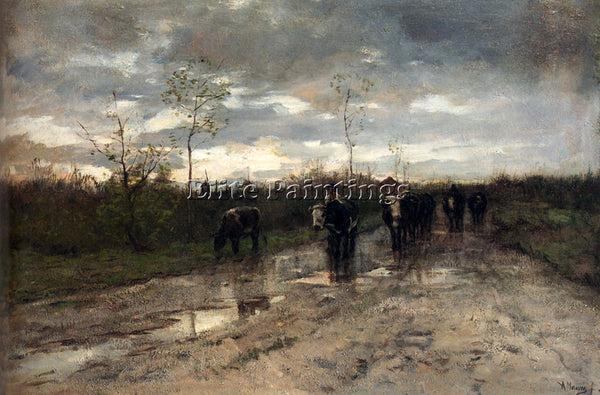 ANTON MAUVE WEG MET KOEIEN HOMEWARD BOUND ARTIST PAINTING REPRODUCTION HANDMADE