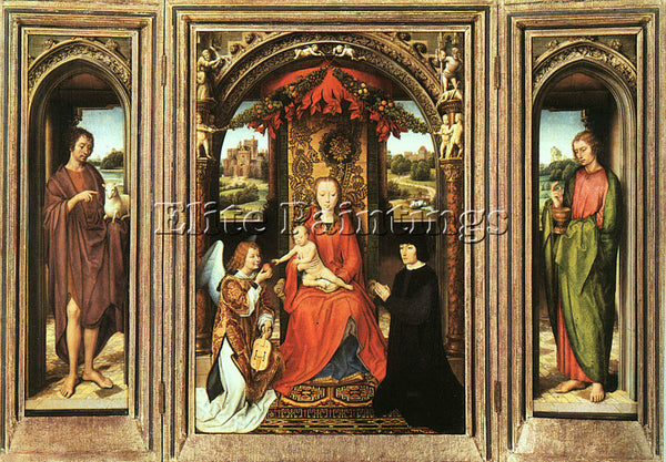 HANS MEMLING TRIPTYCH C1485 ARTIST PAINTING REPRODUCTION HANDMADE OIL CANVAS ART