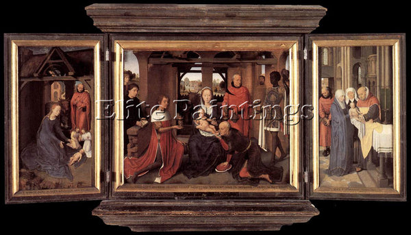 HANS MEMLING TRIPTYCH OF JAN FLOREINS 1479 ARTIST PAINTING REPRODUCTION HANDMADE
