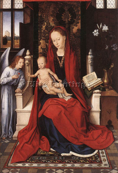 HANS MEMLING VIRGIN ENTHRONED WITH CHILD AND ANGEL C1480 ARTIST PAINTING CANVAS
