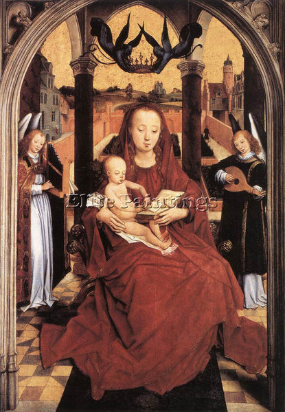 HANS MEMLING VIRGIN AND CHILD ENTHRONED WITH TWO MUSICAL ANGELS ARTIST PAINTING
