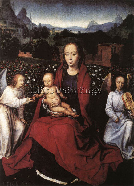 HANS MEMLING VIRGIN AND CHILD IN A ROSE GARDEN WITH TWO ANGELS 1480S OIL CANVAS