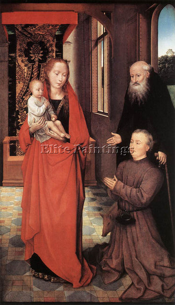 HANS MEMLING VIRGIN AND CHILD WITH ST ANTHONY ABBOT AND A DONOR 1472 OIL CANVAS