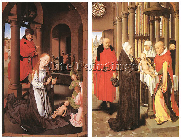 HANS MEMLING WINGS OF A TRIPTYCH C1470 ARTIST PAINTING REPRODUCTION HANDMADE OIL