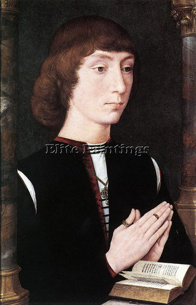 HANS MEMLING YOUNG MAN AT PRAYER C1475 ARTIST PAINTING REPRODUCTION HANDMADE OIL