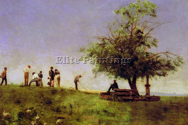 THOMAS EAKINS MENDING THE NET ARTIST PAINTING REPRODUCTION HANDMADE CANVAS REPRO