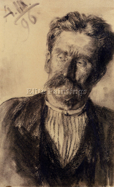ADOLPH VON MENZEL  FRIEDRICH HEAD OF A MAN ARTIST PAINTING REPRODUCTION HANDMADE