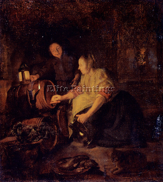 GABRIEL METSU A WOMAN DRAWING WINE FROM A BARREL ARTIST PAINTING HANDMADE CANVAS