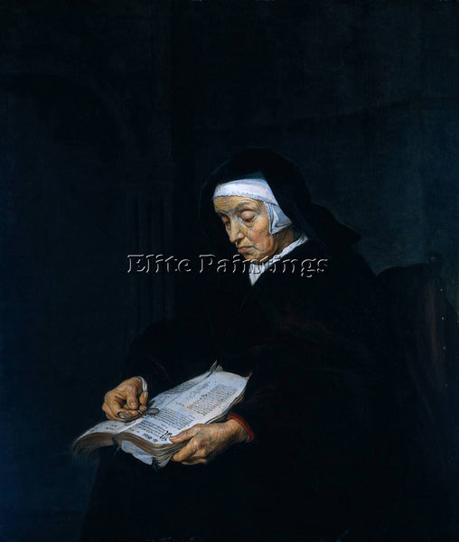GABRIEL METSU OLD WOMAN MEDITATING ARTIST PAINTING REPRODUCTION HANDMADE OIL ART