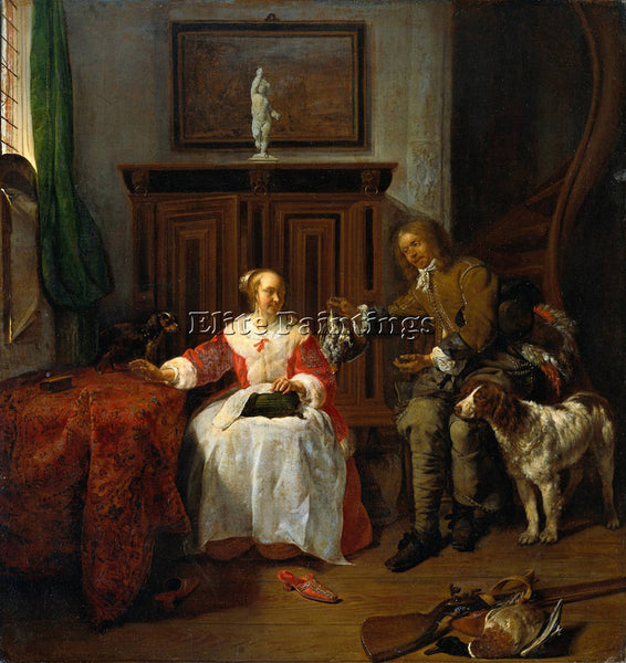 GABRIEL METSU HUNTER S PRESENT ARTIST PAINTING REPRODUCTION HANDMADE OIL CANVAS
