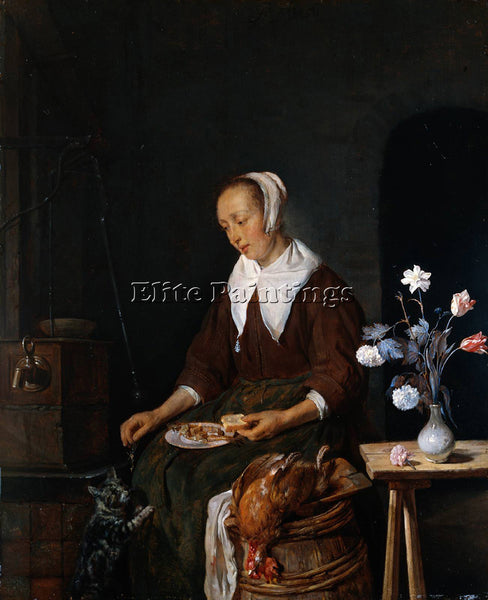 GABRIEL METSU WOMAN EATING ARTIST PAINTING REPRODUCTION HANDMADE OIL CANVAS DECO