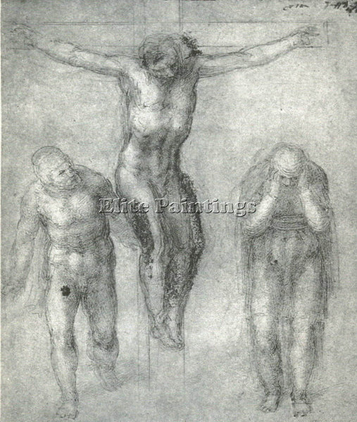 MICHELANGELO STUDY FOR CHRIST ON THE CROSS WITH MOURNERS ARTIST PAINTING CANVAS
