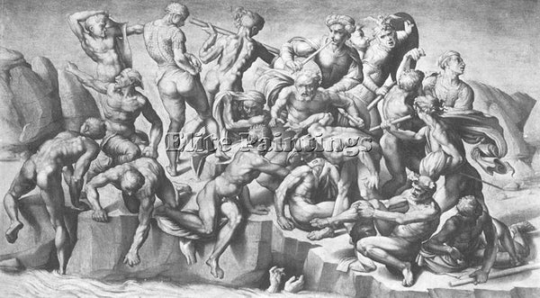 MICHELANGELO  BATTLE OF CASCINA PART ARTIST PAINTING REPRODUCTION HANDMADE OIL