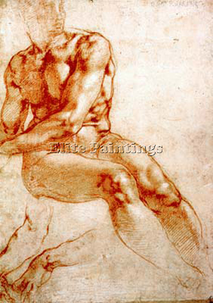 MICHELANGELO  MALE NUDE STUDY RED CHALK ARTIST PAINTING REPRODUCTION HANDMADE