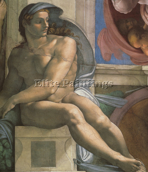 MICHELANGELO  SISTINE CHAPEL CEILING IGNUDI NEXT TO SEPARATION LAND AND PERSIAN