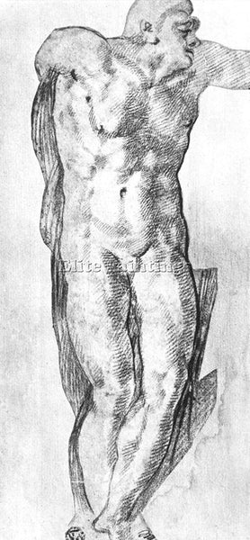MICHELANGELO  STUDY OF A NUDE MAN ARTIST PAINTING REPRODUCTION HANDMADE OIL DECO