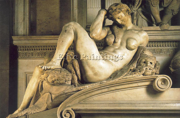 MICHELANGELO  TOMB OF GIULIANO DE MEDICI DETAIL NIGHT ARTIST PAINTING HANDMADE