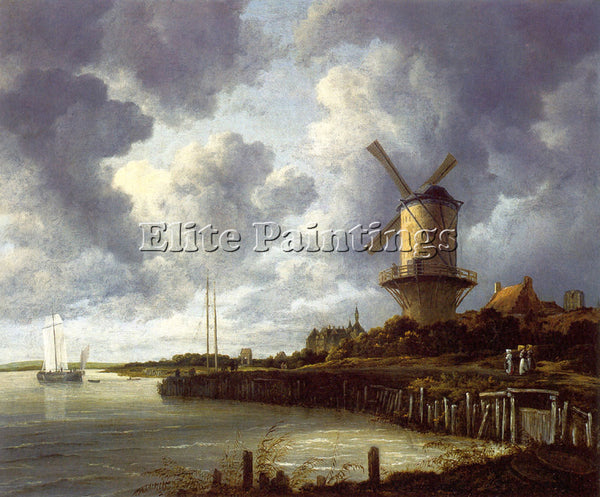JACOB VAN RUISDAEL MILL AT WIJK NEAR DUURSTEEDE ARTIST PAINTING REPRODUCTION OIL
