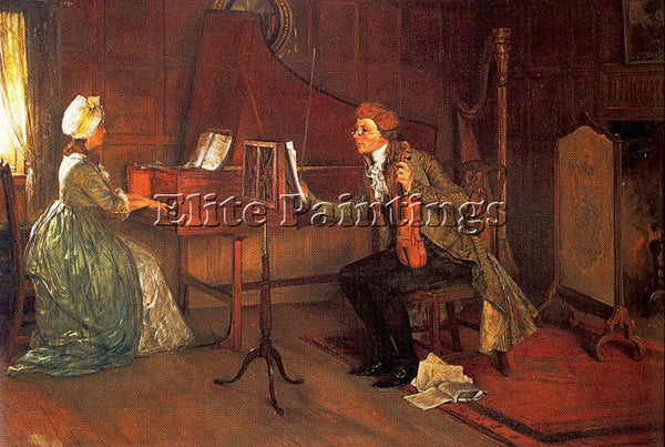 FRANCIS DAVIS MILLET A DIFFICULT DUET ARTIST PAINTING REPRODUCTION HANDMADE OIL